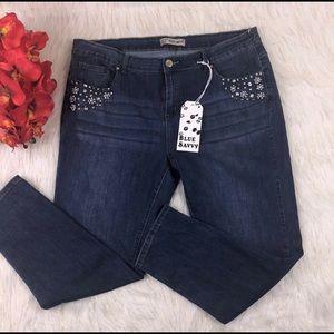Skinny bejeweled jeans